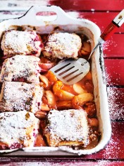 mixed stone fruit cobbler with raspberry and buttermilk biscuit