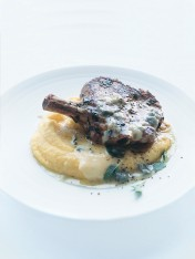pan-fried veal with soft polenta and blue cheese