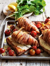 pancetta-wrapped chicken with stracchino cheese toasts