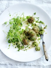 quinoa and pea fritters with tahini dressing