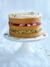 pistachio, raspberry and ricotta layer cake