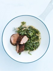 pork fillets with creamed spinach