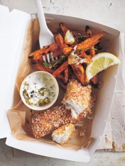 quinoa-crusted fish with sweet potato chips and yoghurt tartare