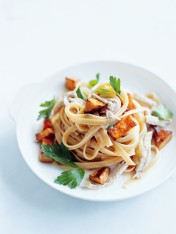 roast sweet potato, garlic and chicken fettuccine