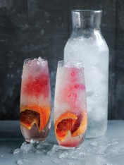 rosehip, raspberry and blood orange cocktail