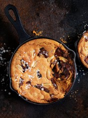 salted peanut butter and choc-chip skillet cookies