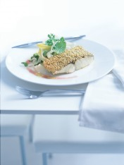 sesame-crusted fish with campari dressing