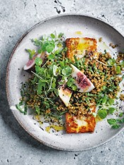 spiced freekeh, fig and haloumi salad