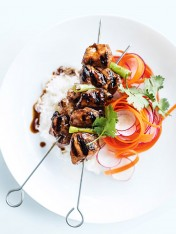 sticky five-spice chicken skewers with radish and carrot salad