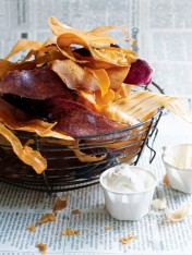 sweet potato and yam chips with hot mustard dipping sauce