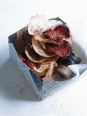taro and beetroot chips with smoky coriander salt