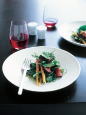 warm chilli beef salad with coriander pesto