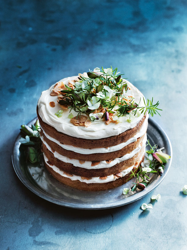 Almond And Orange Blossom Layer Cake With Vanilla Ricotta Icing ...