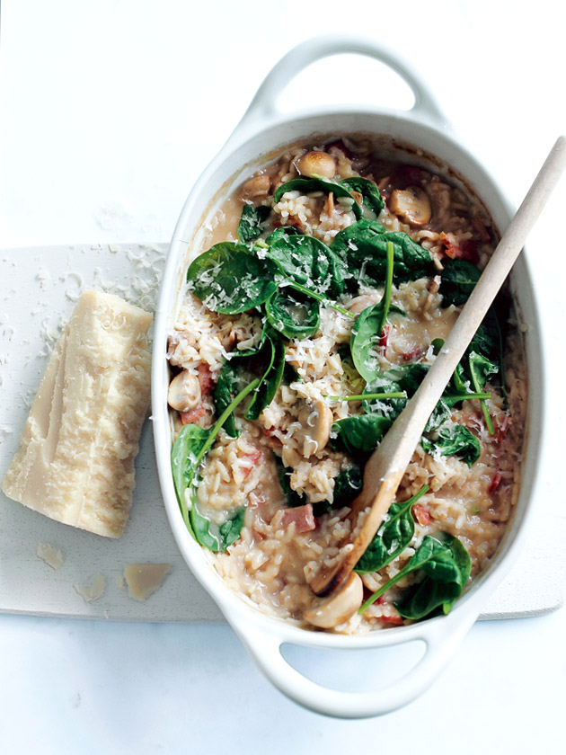 Baked Mushroom Bacon And Spinach Risotto | Donna Hay