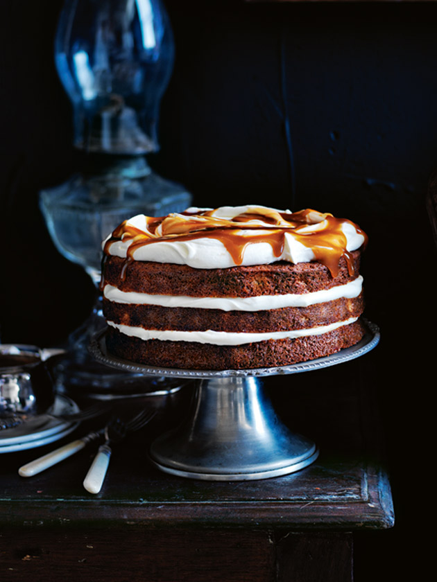 ... + baking / banana layer cake with honey cream and whiskey caramel
