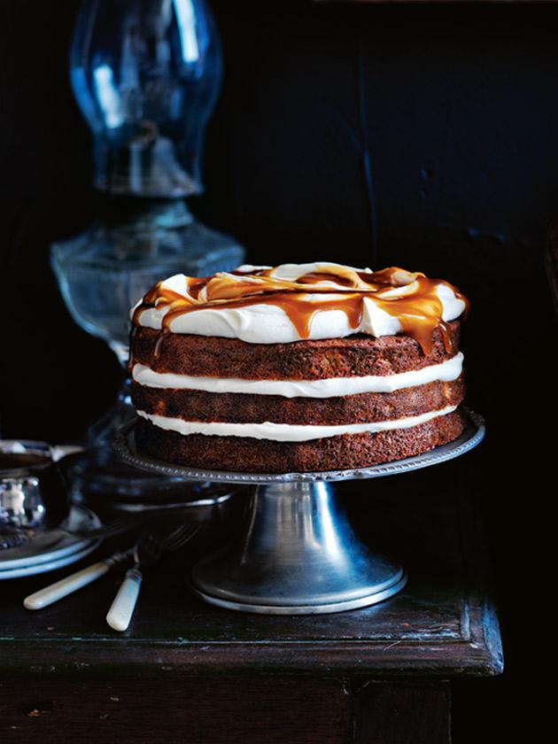 ... + baking / banana layer cake with honey cream and whiskey caramel