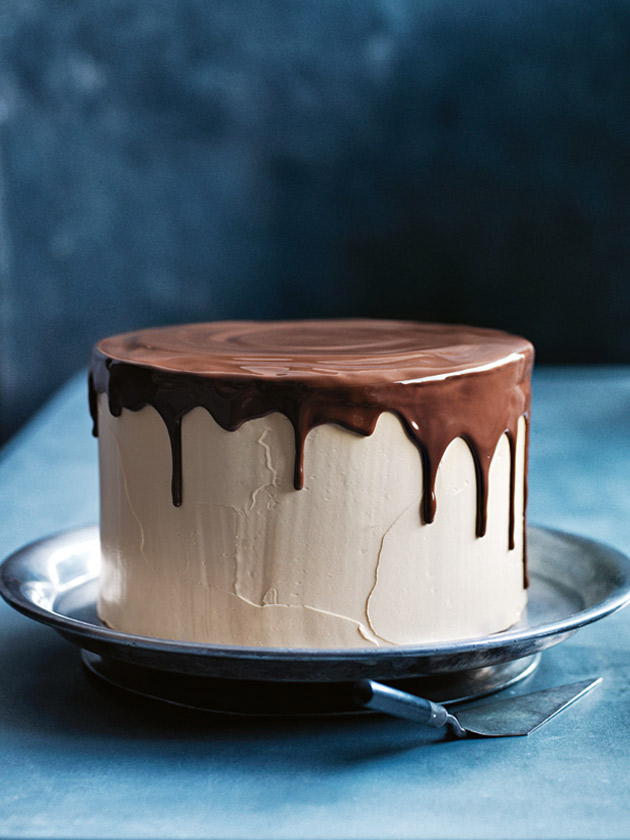 Caramel Butter Cream Layer Cake With Drippy Chocolate Glaze | Donna ...