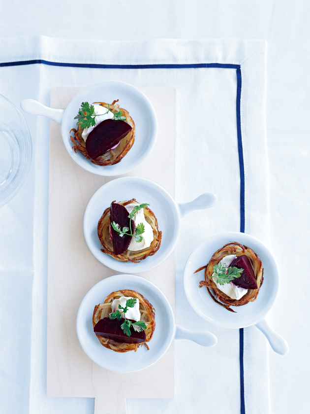 crispy potato pancakes with beetroot and horseradish cream