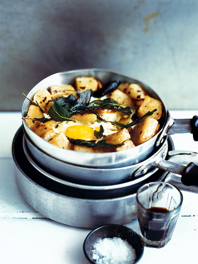 crispy sage potatoes with fried eggs