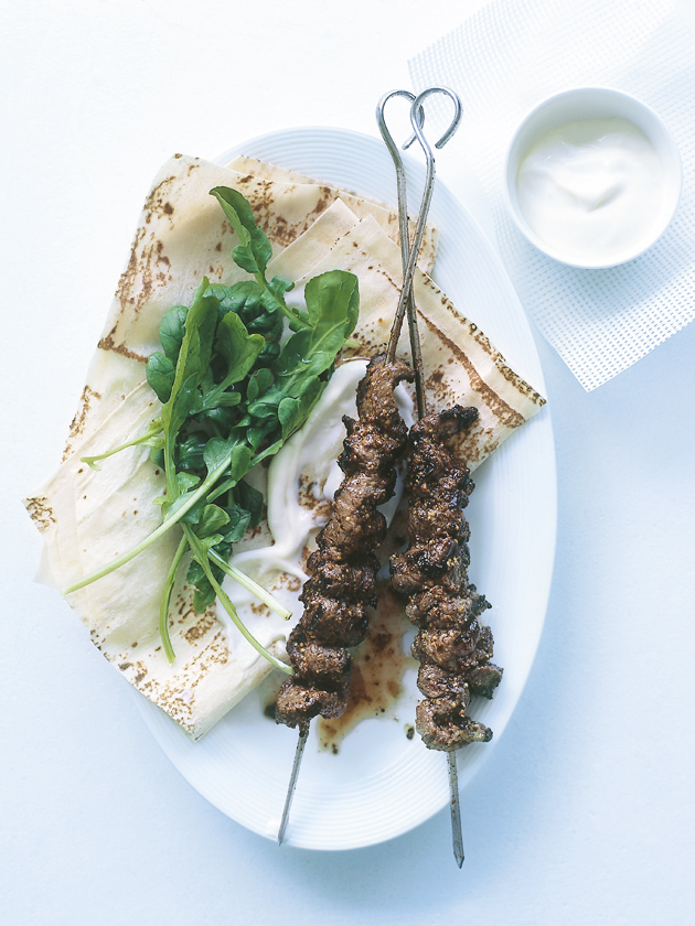 home / recipes / mains / garlic and mustard beef skewers