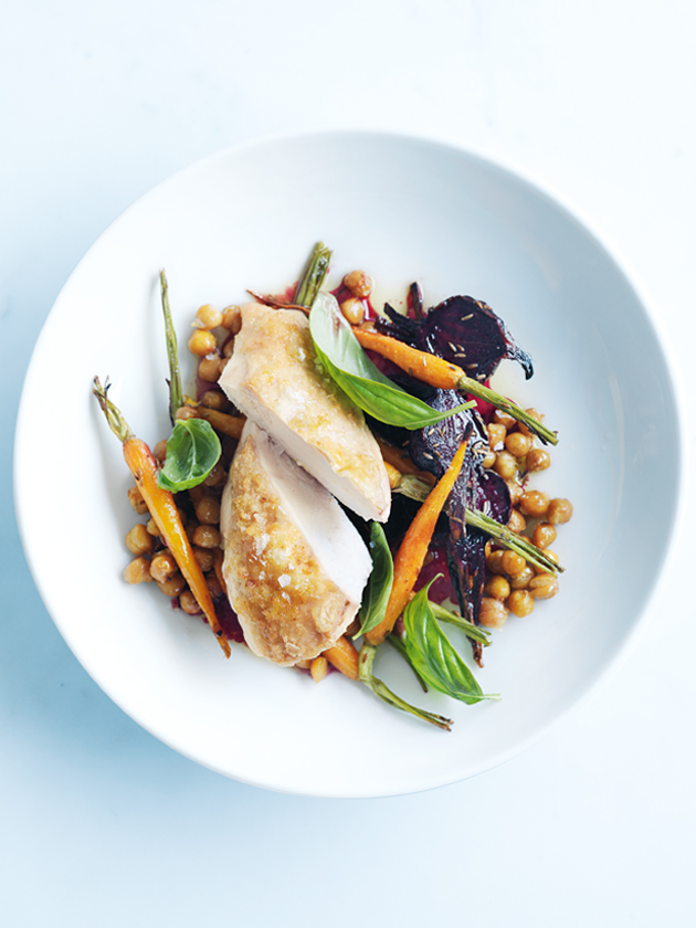 honey-roasted chicken with chickpea and roast vegetable salad | Donna ...