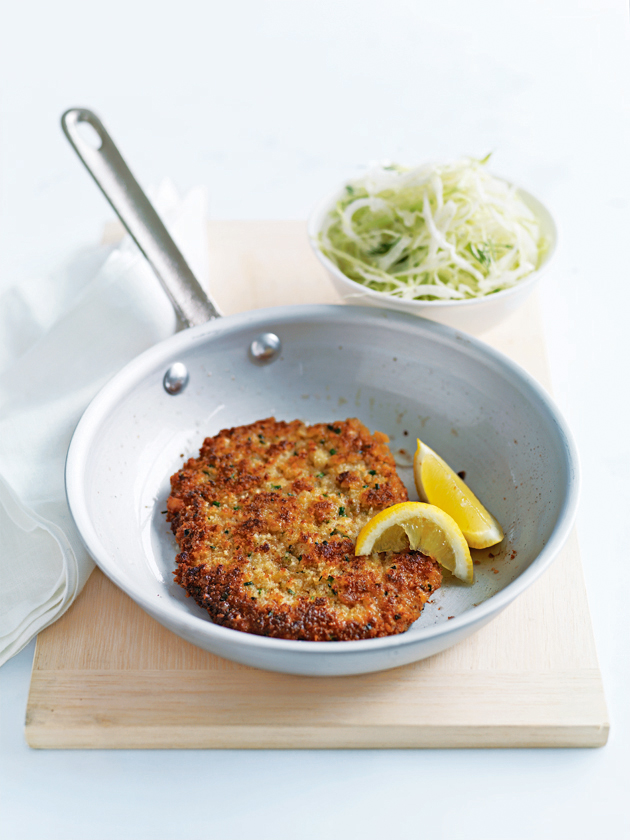 lemon and chive veal schnitzel