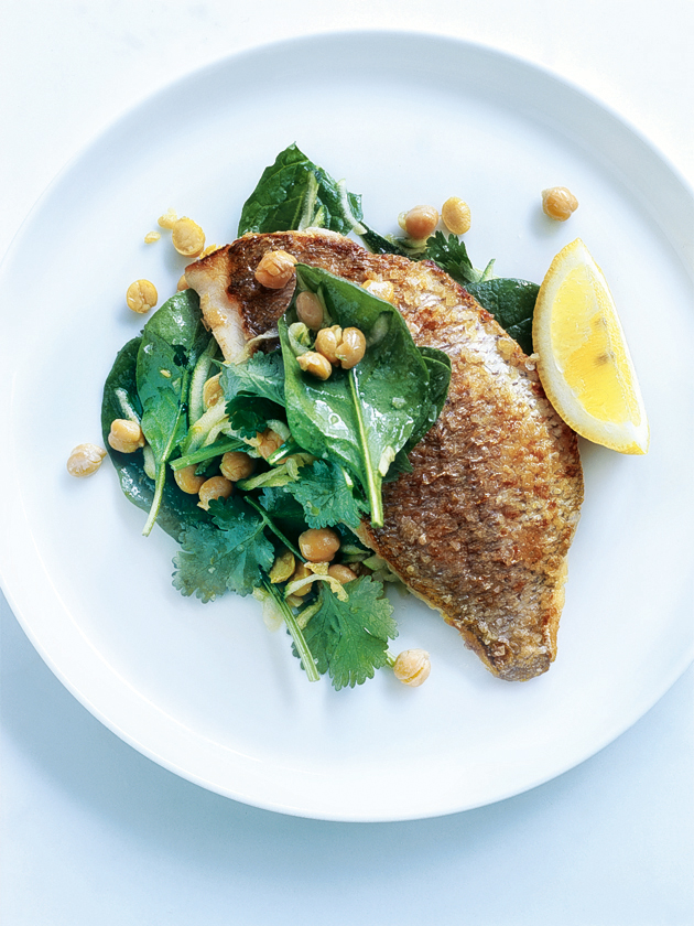 home / recipes / / pan-fried snapper with chickpea and zucchini salad