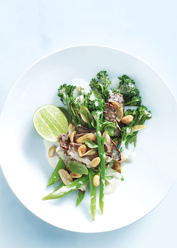 home / recipes / / peanut beef and basil stir-fry