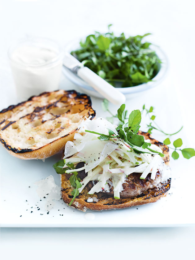 Pork And Horseradish Burgers With Apple Slaw | Donna Hay