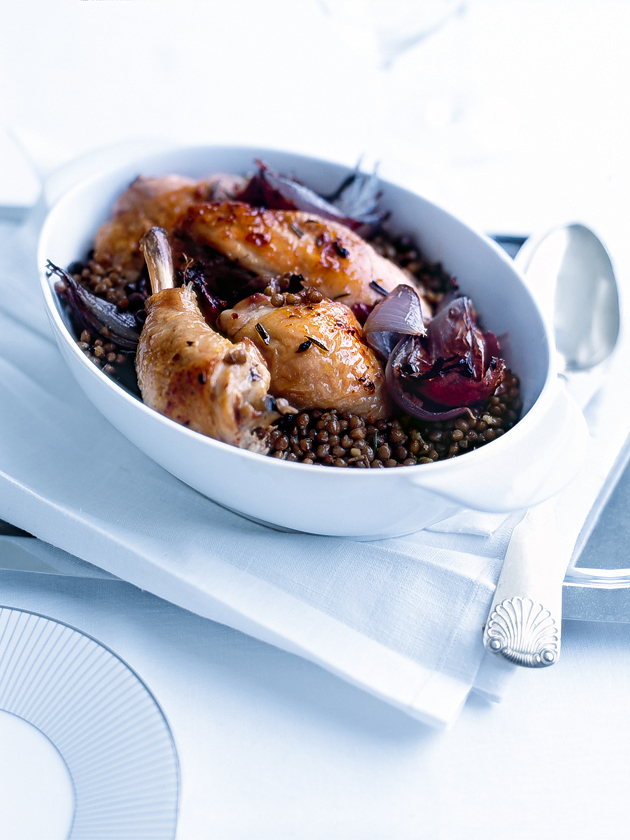 roasted rosemary chicken with lentils
