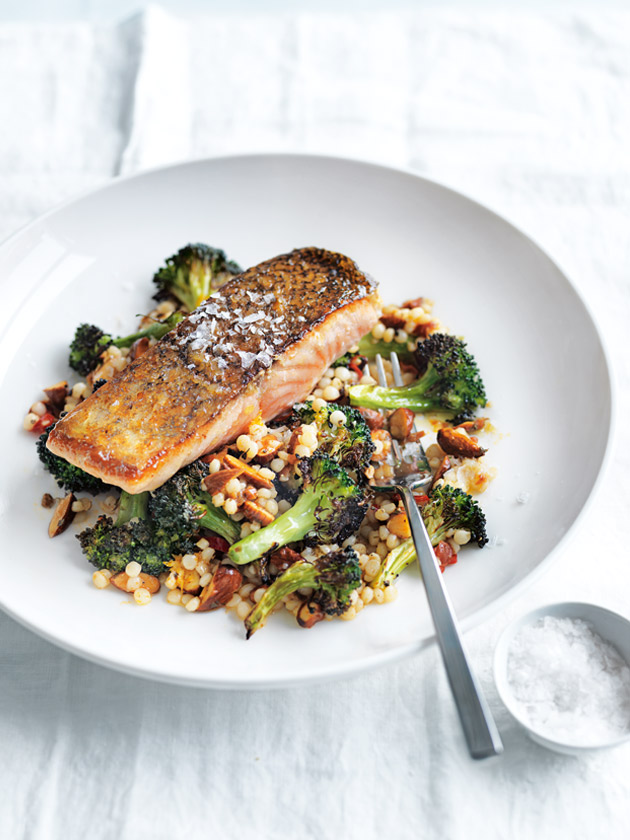 Roasted Salmon With Broccoli And Israeli Couscous   Donna Hay