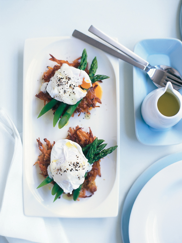 home / recipes / / soft-poached eggs with sweet potato hash browns