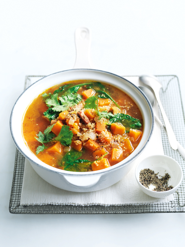 Spicy Sweet Potato Quinoa And Speck Soup 1 | Donna Hay
