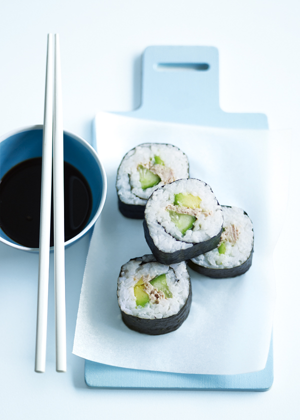 home / recipes / / tuna and avocado nori rolls