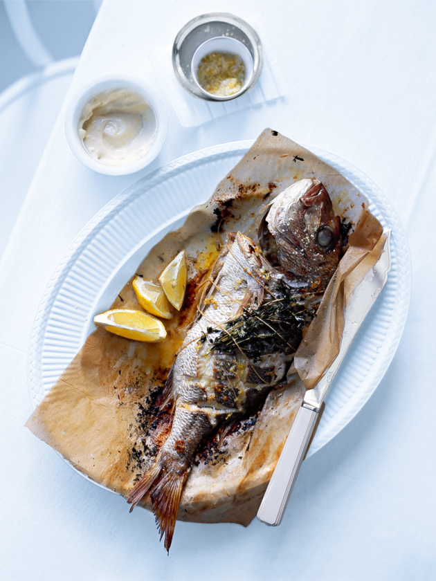 Whole Baked Fish With Lemon Salt And Aioli | Donna Hay