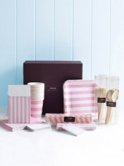 complete party ware hamper - pink stripes