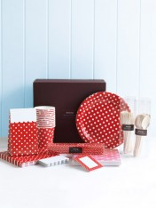 complete party ware hamper - polka red