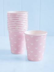 paper cups – pink with white hearts