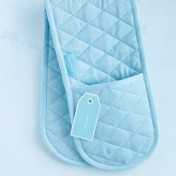 double oven mitt - pale blue