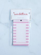 striped gift tags – pink