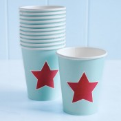paper cups – blue with red star
