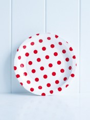 paper cake plates – polka dot red