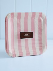 striped paper plates – pink