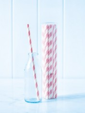 paper straws – striped pink