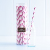 paper straws – two-stripe pink - pack of 50