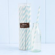 paper straws – striped blue - pack of 50