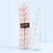 paper straws – striped pale pink - pack of 50