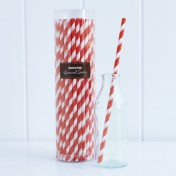 paper straws – striped red - pack of 50