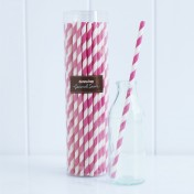paper straws – striped hot pink - pack of 50