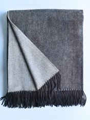 wool and cashmere throw - charcoal/grey